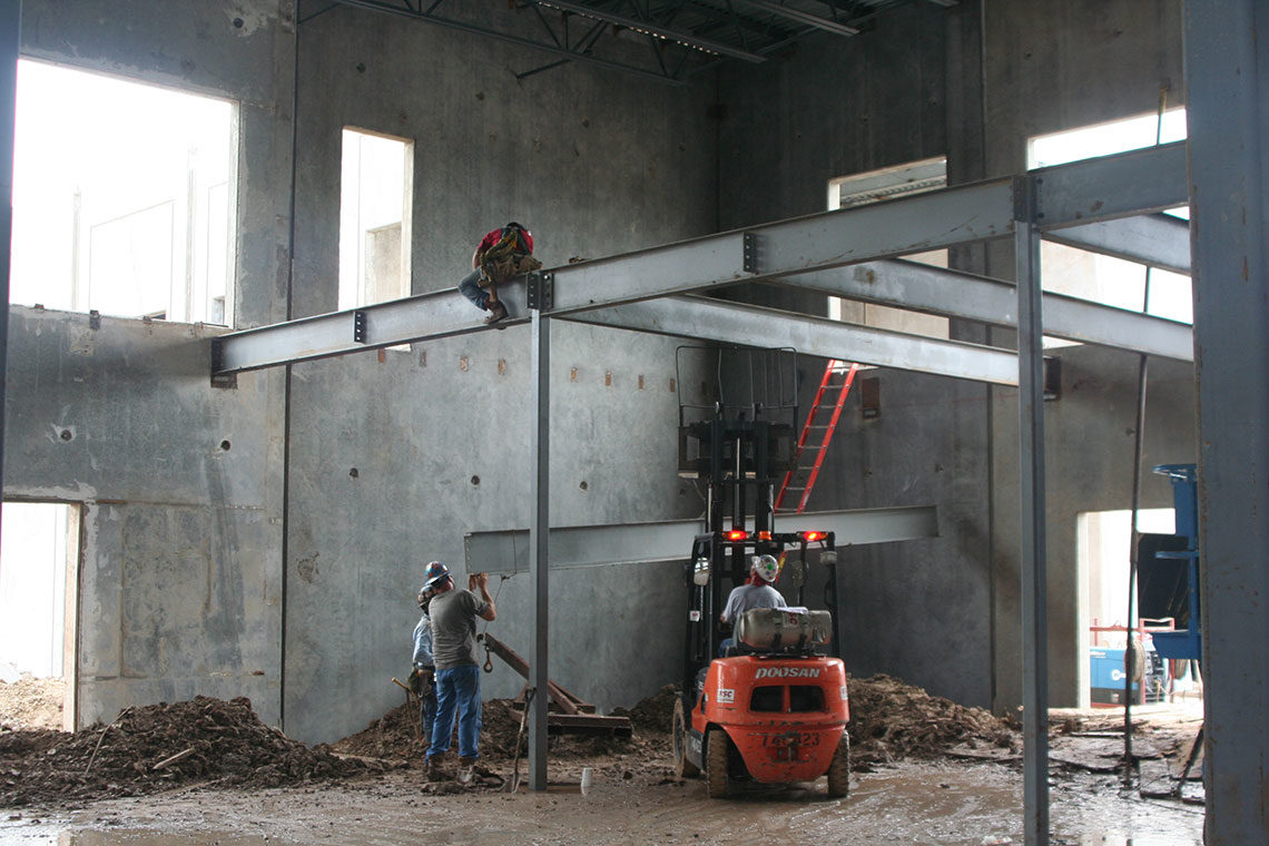 Inside the building during construction